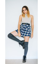 black combat doc martens boots - heather gray over the knee socks