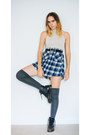 Black-combat-doc-martens-boots-heather-gray-over-the-knee-socks
