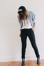 Black-urban-outfitters-boots-black-thrifted-jeans-ruby-red-snapback-obey-hat