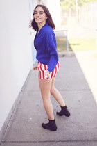 striped Urban Outfitters shorts - lace up Urban Outfitters boots