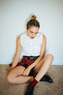 Black-dr-martens-shoes-black-leather-h-m-shorts-brick-red-plaid-thrifted-top