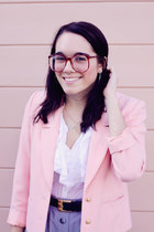 light pink thrifted vintage blazer - silver elephant thrifted vintage purse