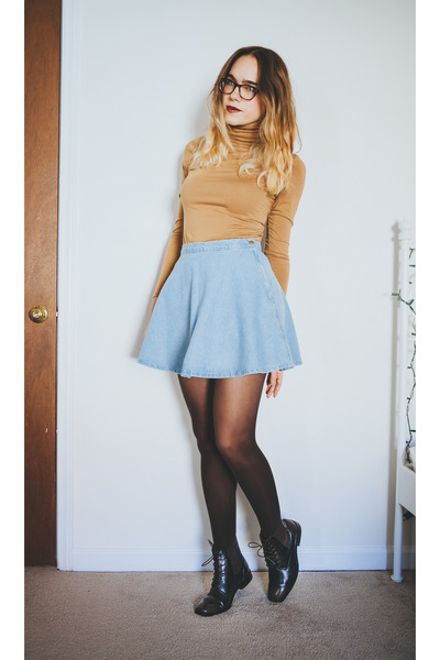 sky blue denim American Apparel skirt - dark brown thrifted boots