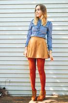 camel suede Jeffrey Campbell wedges - burnt orange tights