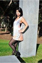 light orange size 3x tank Forever 21 dress - dark gray tights - black low heel C