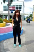 black jumpsuit Details pants - Bosquejo Bazaar necklace - turquoise confetti hee