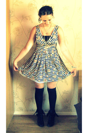 black socks - white new look dress - black random boutique boots - black Primark