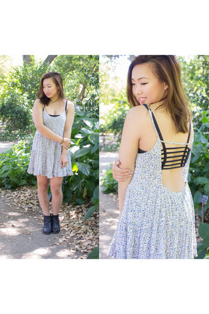 black H&M boots - sky blue brandy melville dress