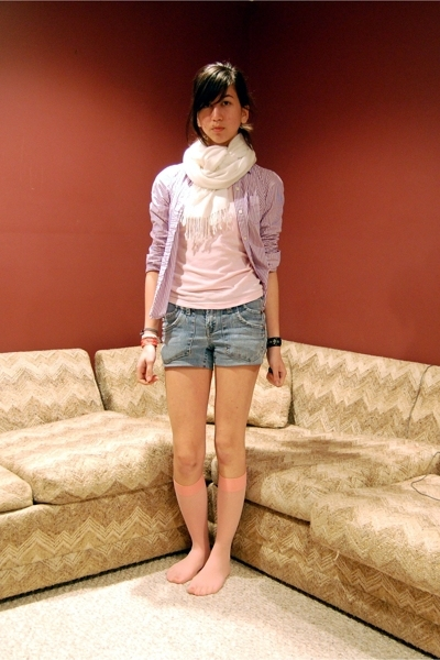 American Eagle shirt - Roxy top - Unknown cut from jeans shorts - Gap socks