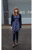 dark brown FLY boots - navy Topshop dress - navy Tesco tights - navy Topshop car
