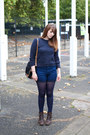 Dark-brown-fly-london-boots-blue-just-female-shorts-navy-topshop-jumper
