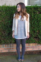 beige H&M blazer - white Zara top - gray Joe Fresh tights - neutral coach shoes