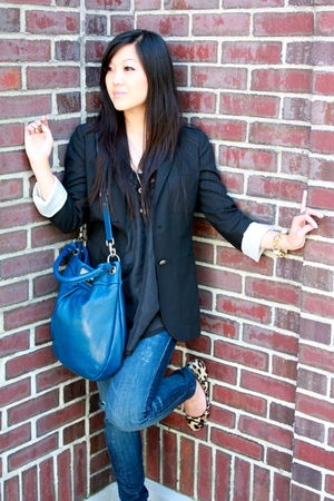 black Talula blazer - blue Siwy jeans - black wilfred top - yellow coach shoes -