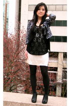 gray Silence & Noise cardigan - black wilfred top - beige Club Monaco dress - bl