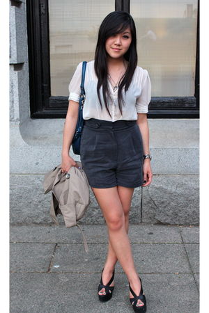 white pins and needles blouse - blue Forever 21 shorts - black Jeffrey Campbell