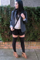 beige pins and needles blouse - black pavonine shorts - gray SilenceNoise blazer