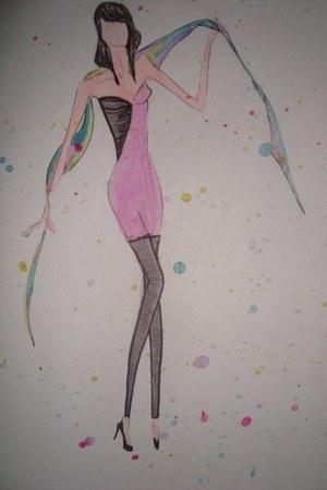 pink dress - black leather leggings - aquamarine satin scarf