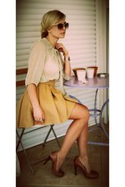 lime green pull&bear shirt - brown Guess heels - camel Zara skirt - carrot orang