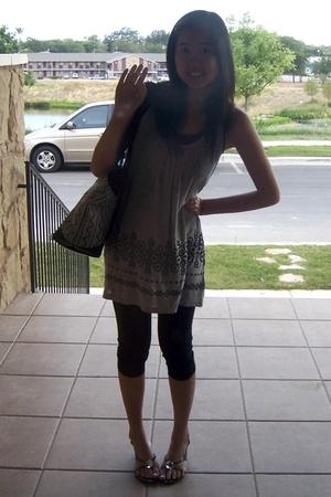 black Nine West shoes - black Forever 21 leggings - gray Forever 21 dress - blac