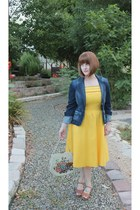 yellow vintage dress - blue denim Mossimo jacket - tan vintage shoes sandals