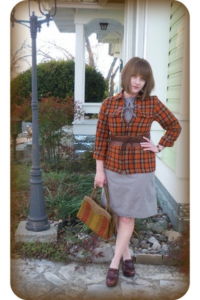 vintage dress - Harolds jacket - vintage purse - Fryes clogs - audrajean etsy Ob