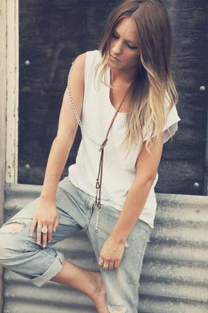 Lemule necklace - boyfriend jeans sass & bide jeans - tank top Lemule top