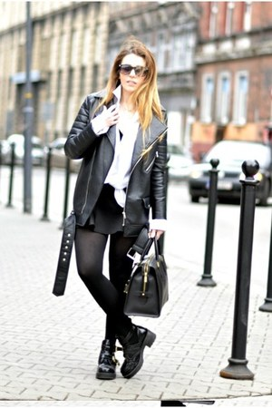 black cut out new look boots - black biker Nelly jacket - black Nelly skirt