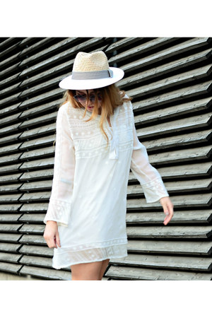 white Mango dress - eggshell Zara hat