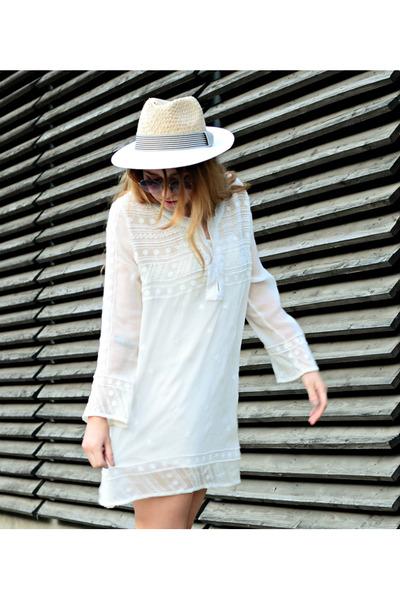 white Mango dress - eggshell Zara hat