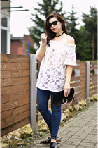 black Chloe bag - white crochet hm blouse - black mules Zara flats