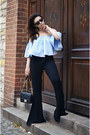 Light-blue-off-shoulder-zara-blouse-black-zara-pants