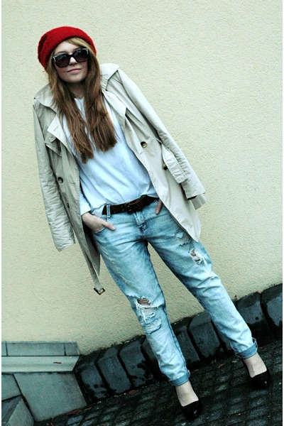 light blue Zara jeans - nude trench Cubus coat - dark brown Zara sunglasses