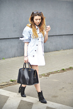 white Zara dress - light blue Levis jacket