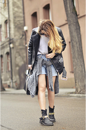 black biker asos boots - black biker Nelly jacket - light blue Levis shorts