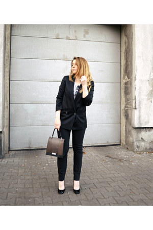 black Massimo Dutti blazer - black Zara pants