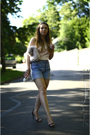 light pink faux fur asos bag - light blue Levis shorts