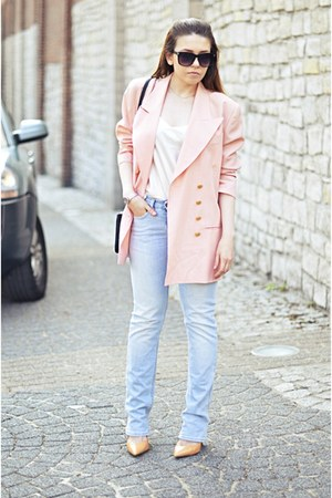 light pink vintage blazer - light blue acne jeans