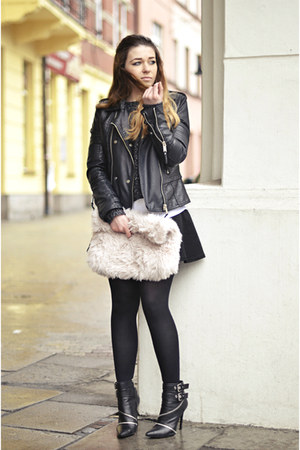 black leather Zara boots - black biker River Island jacket