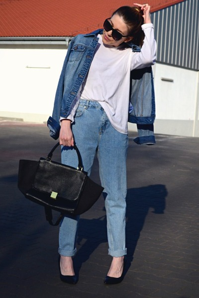 blue denim jacket Orsay jacket - light blue mom jeans pull&bear jeans