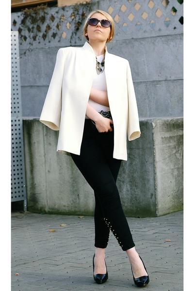 black studdes studds Zara jeans - brown Zara sunglasses - gold H&M necklace