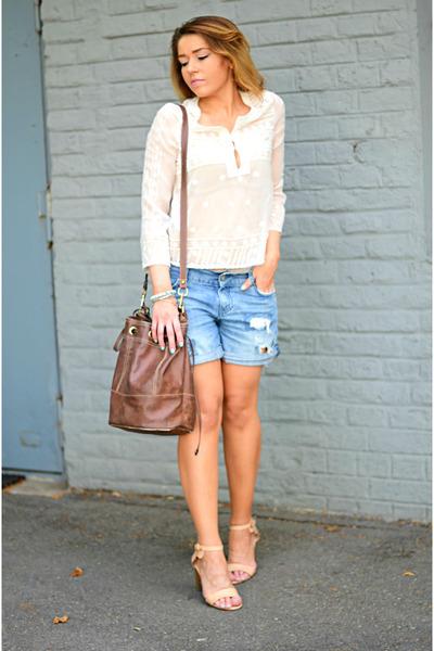 brown Bag bag - beige Mango sandals - white Mango blouse