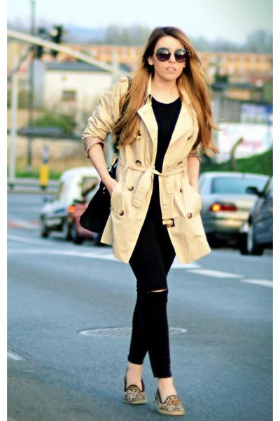 beige trench coat Cubus coat - black asos sunglasses - bronze leopard asos flats