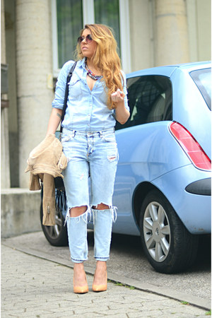 light blue denim Pimkie shirt - light blue ripped Mango jeans - nude Zara heels