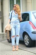 light blue denim Pimkie shirt - light blue ripped Mango jeans - nude Zara heels