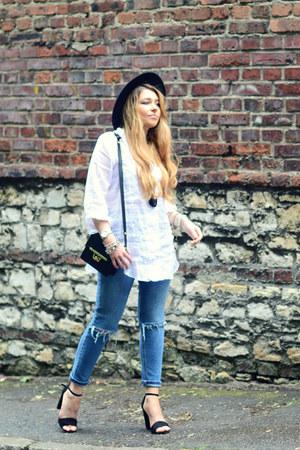 white Zara shirt - light blue ripped asos jeans - black Zara hat