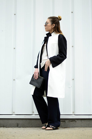 white Zara vest - black vintage pants