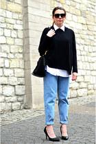 light blue boyfriend jeans pull&bear jeans - white menswear second hand shirt