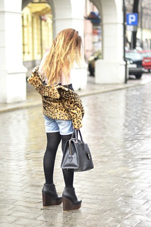 bronze Zara jacket - black Topshop wedges