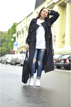black Front Row Shop coat - white Adidas sneakers