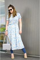 light blue floral dress H&M dress - heather gray quilted BCBGeneration bag